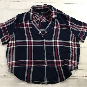 NWT Rails Short Sleeved buttoned Plaid navy Shirt